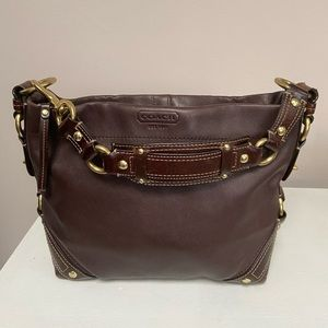 Authentic Coach Carly Brown Leather Hobo Bag